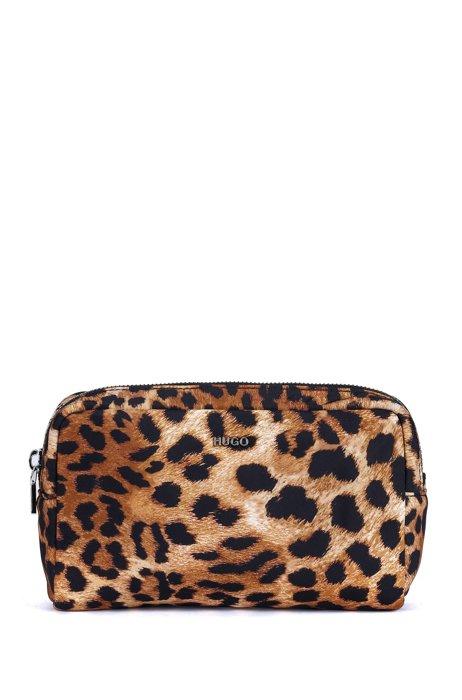 Kosmetiktasche mit Leoparden-Print und metallenem Logo-Schriftzug, Gemustert