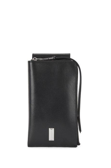Smartphone-Tasche aus Leder mit Reißverschluss und charakteristischen Metalldetails, Schwarz