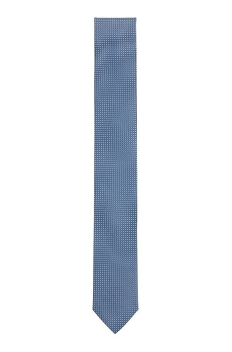 Micro-patterned tie in crease-resistant jacquard fabric, Light Blue