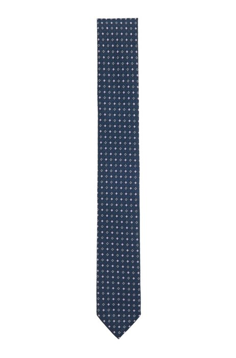 Patterned tie in crease-resistant jacquard fabric, Black