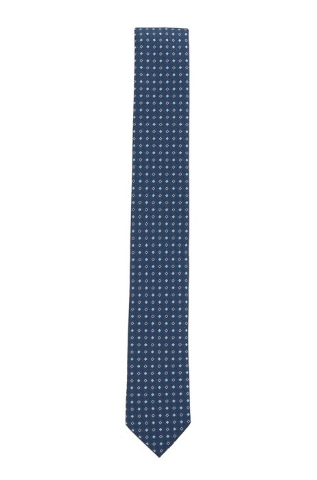 Patterned tie in crease-resistant jacquard fabric, Dark Blue