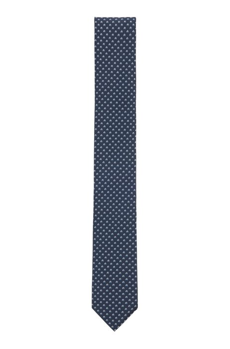 Patterned tie in crease-resistant jacquard fabric, Light Blue