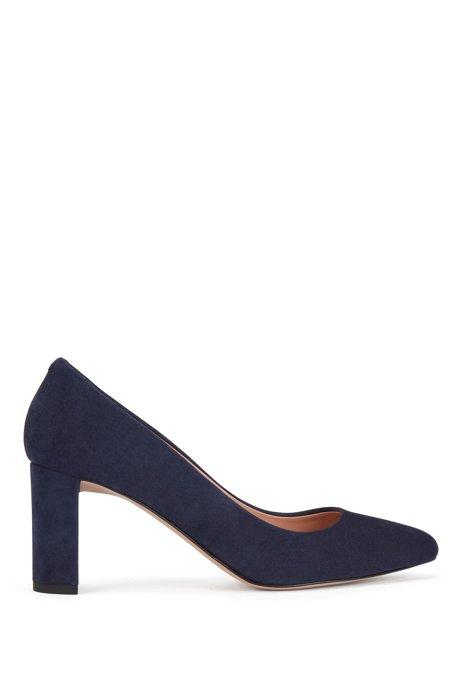 Italian-suede pumps with block heel, Dark Blue