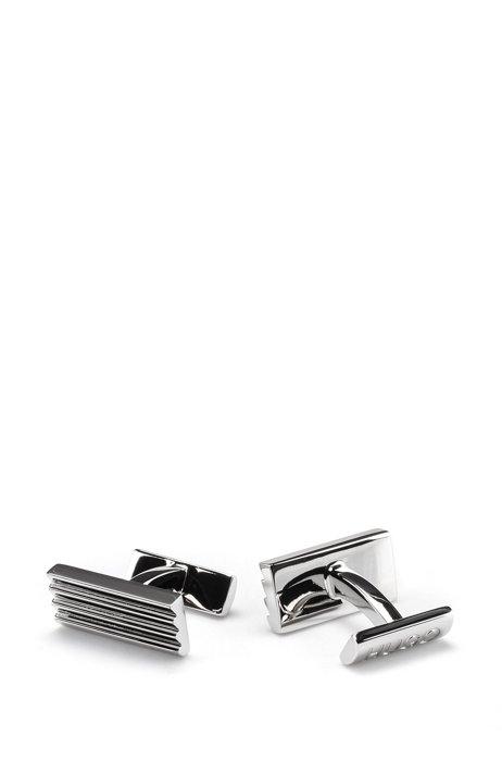 Geribbelde manchetknopen met gegraveerd logo, Zilver