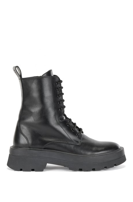 Lace-up ankle boots in Italian calf leather, Black