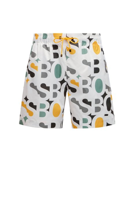 Quick-drying ripstop swim shorts with colourful logo artwork, White