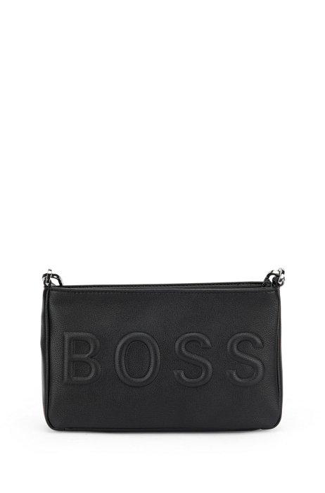 Mini sac en similicuir à logo ton sur ton, Noir