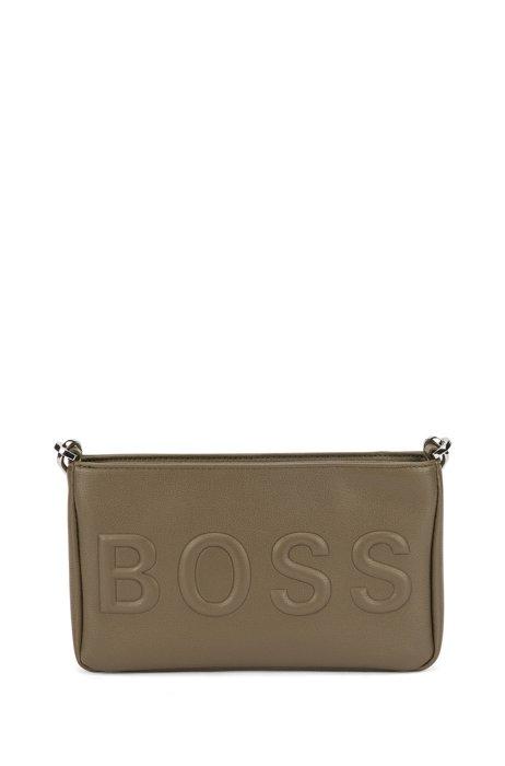 Faux-leather mini bag with tonal logo, Khaki