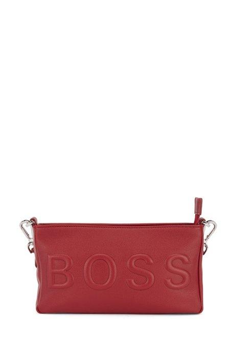 Mini sac en similicuir à logo ton sur ton, Rouge sombre