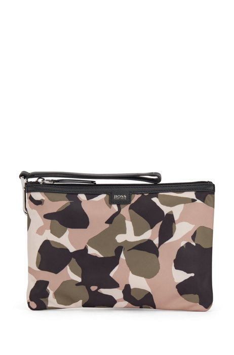 Zip-up pouch in recycled nylon with camouflage print, Patterned