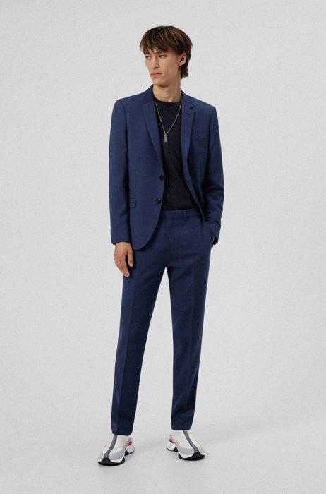 Costume Extra Slim Fit en laine mélangée à motif, Bleu foncé