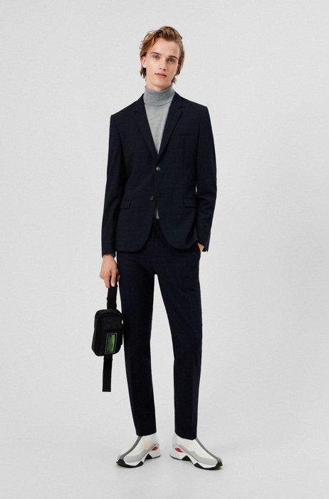 Verstaubarer Extra Slim-Fit Anzug aus elastischem Seersucker, Dunkelblau