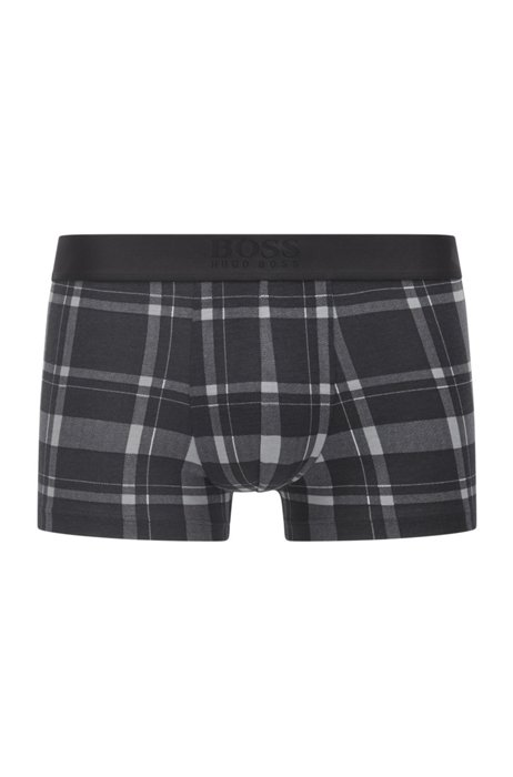 Checked trunks in a cotton-modal blend with stretch, Black