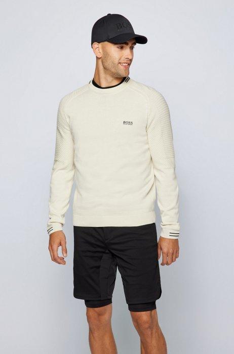 Logosweater van biologische katoen in een combinatie van structuren, Wit