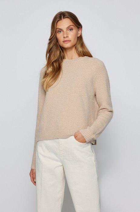 Crew-neck sweater in stretch fabric, Light Beige