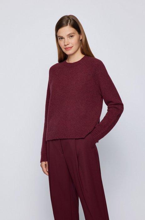 Crew-neck sweater in stretch fabric, Dark Red