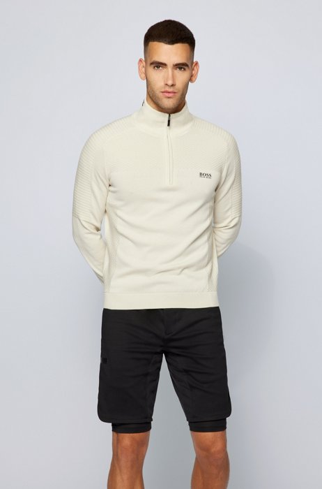 Zip-neck sweater in organic cotton with mixed structures, White