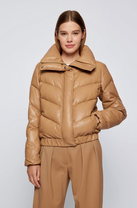 Relaxed-fit down jacket in chevron-padded leather, Light Brown