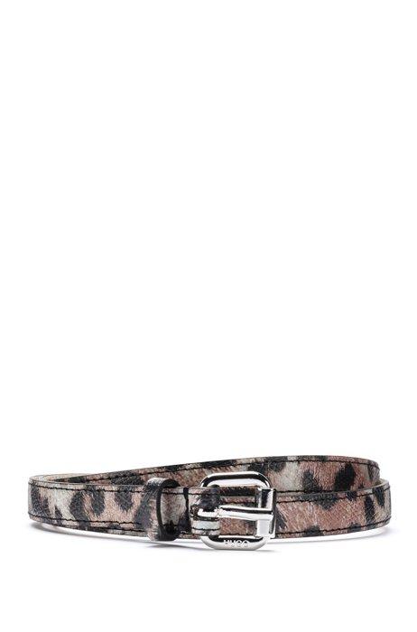 Gürtel aus italienischem Leder mit Leoparden-Print, Gemustert