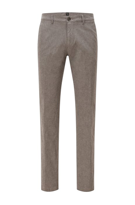 Regular-fit chinos in two-tone stretch cotton, Grey