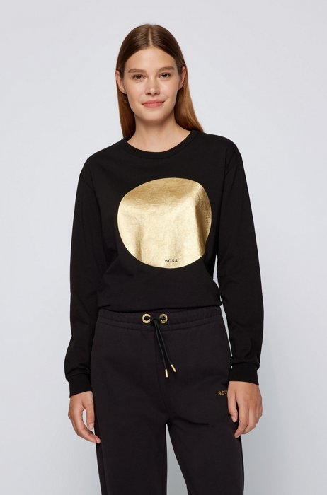 Relaxed-fit sweatshirt with gold-effect foil print, Black
