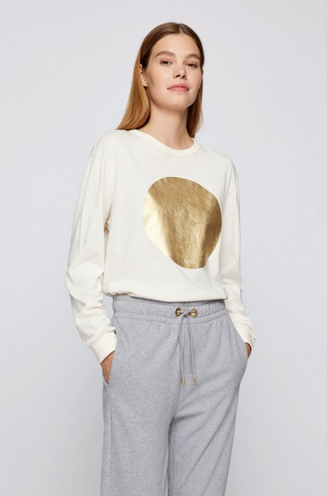 Relaxed-fit sweatshirt with gold-effect foil print, White