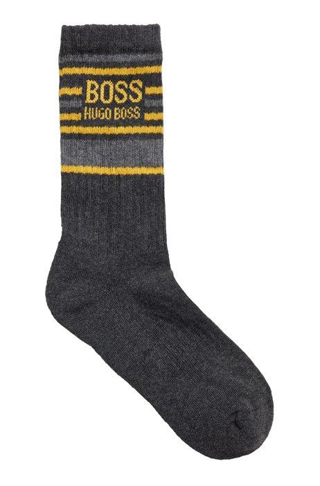 Calcetines cortos de mezcla de algodón orgánico con logo y rayas, Gris oscuro