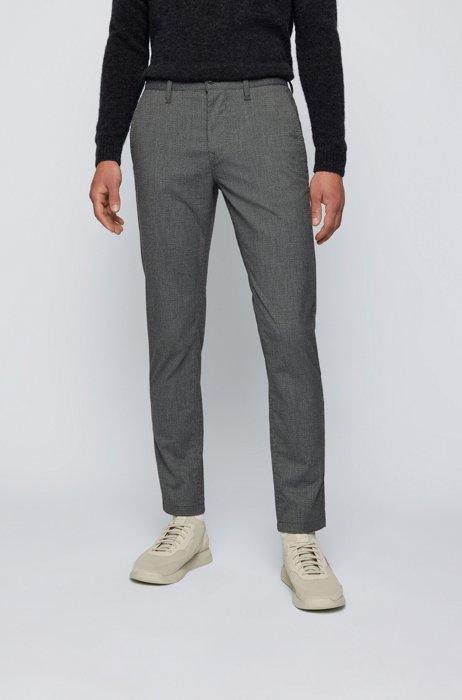 Pantaloni con fit affusolato in tessuto elasticizzato con micromotivo pied-de-poule, Grigio