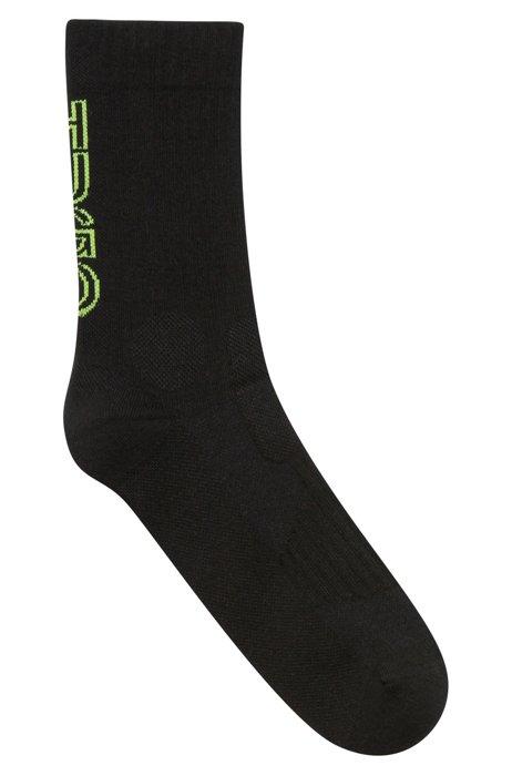 Calcetines cortos de mezcla de algodón orgánico con logo vertical, Negro