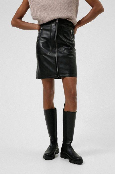 Regular-Fit Rock aus Leder mit Reißverschluss-Details, Schwarz