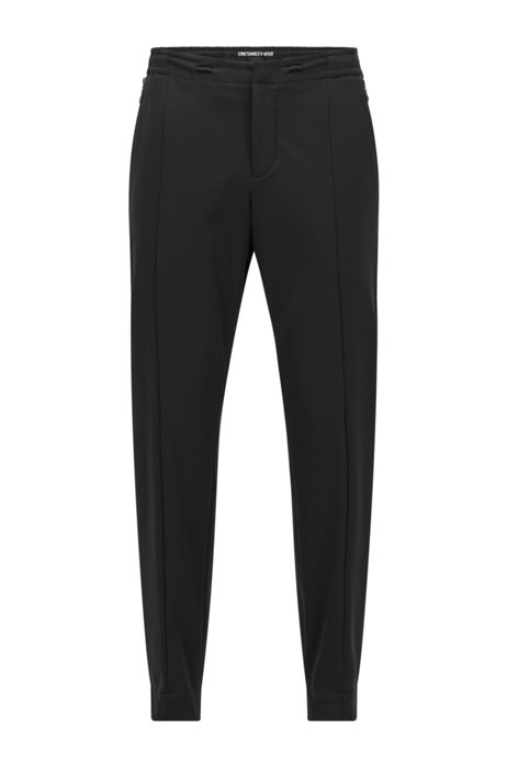 Pantalon Slim Fit en tissu stretch triple épaisseur, Noir
