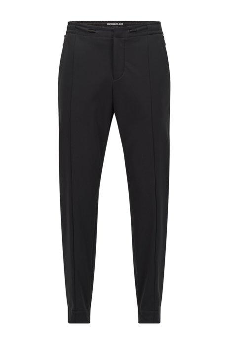 Slim-Fit Hose aus dreilagigem Stretch-Gewebe, Schwarz