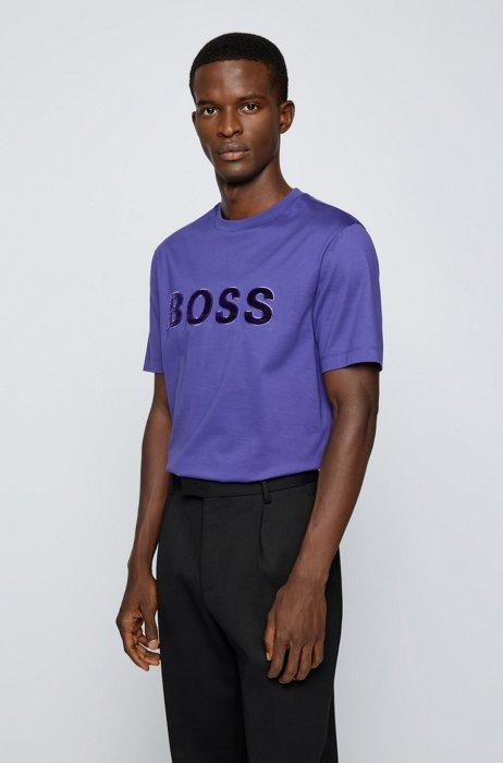 T-shirt en coton biologique avec logo imprimé selon différentes techniques, Lilas