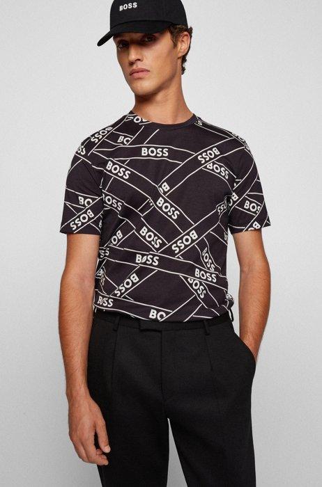 T-shirt en coton mercerisé à logo artistique, Noir