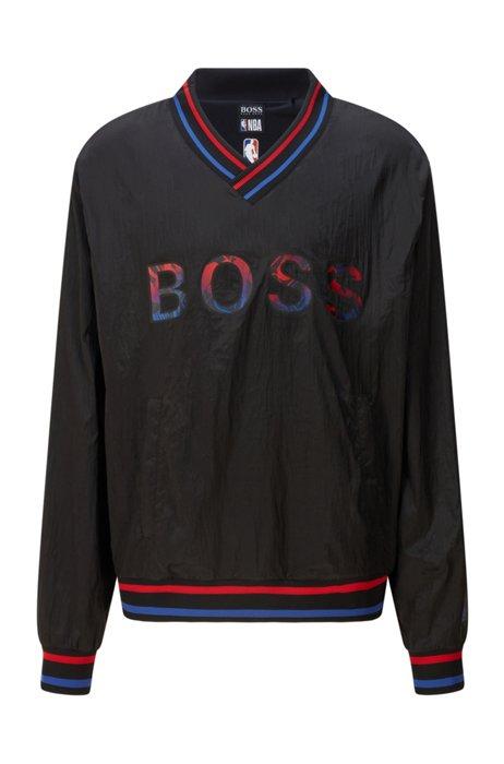 Relaxed-Fit Sweatshirt mit V-Ausschnitt und exklusivem Logo, Schwarz