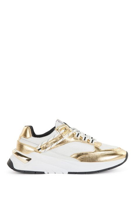 Mixed-material trainers with gold-tone accents, Gold