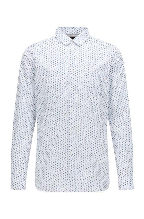 Camisa slim fit de popelín de algodón elástico estampado, Blanco estampado