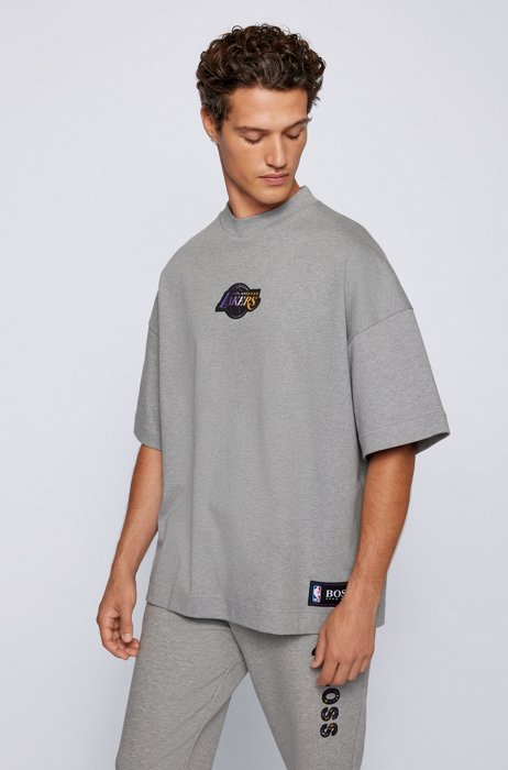 BOSS x NBA relaxed-fit T-shirt with colorful branding, Grey