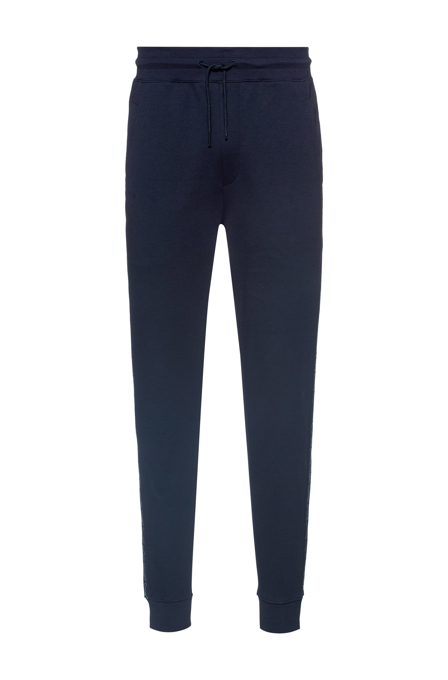 Regular-fit tracksuit bottoms with cropped-logo side stripes, Dark Blue