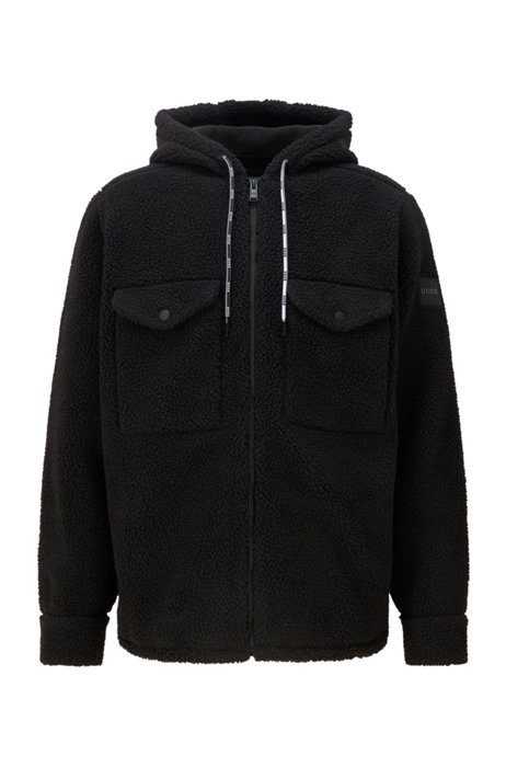 Zip-up overshirt in faux teddy with branded tape, Black