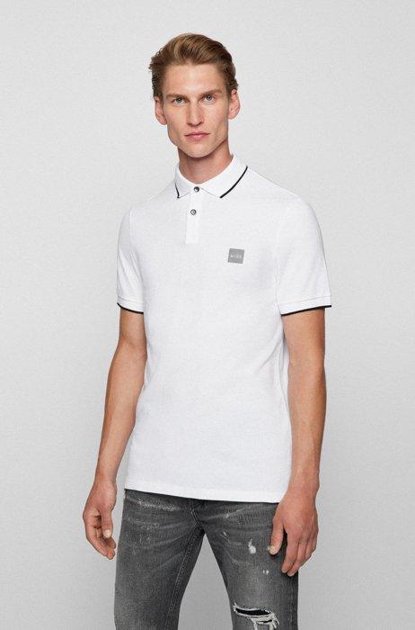 Slim-fit polo shirt in stretch-cotton piqué, White