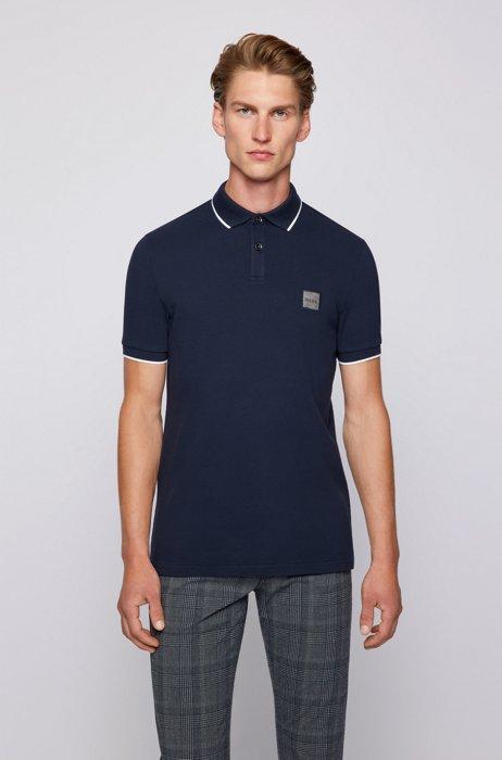 Slim-fit polo shirt in stretch-cotton piqué, Dark Blue