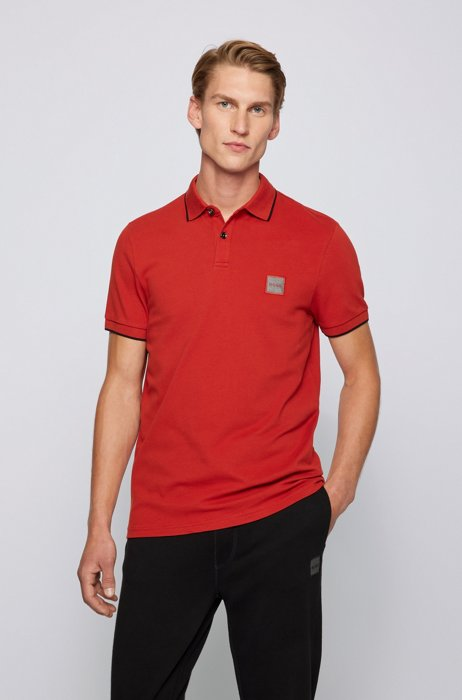 Slim-fit polo shirt in stretch-cotton piqué, Red