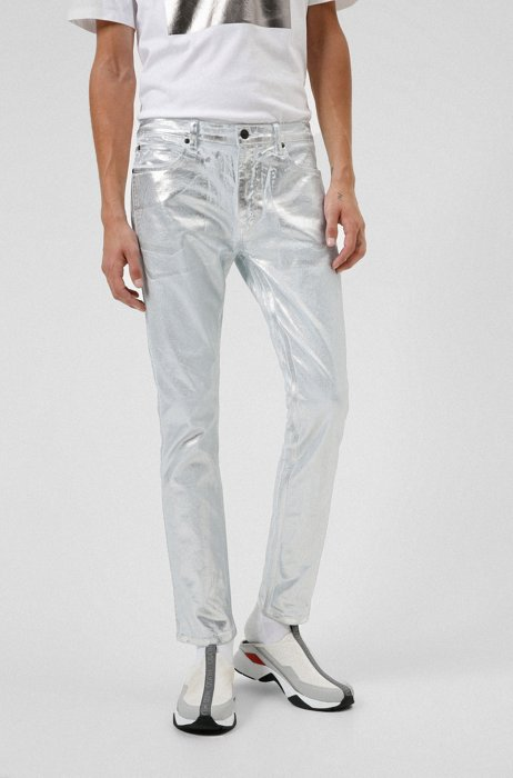 Extra-slim-fit jeans in foil-treated stretch denim, Silver