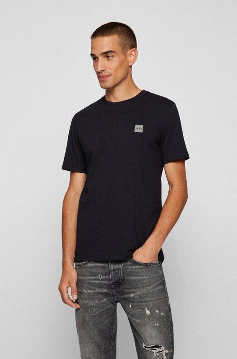 T-Shirt aus Bio-Baumwolle mit Rundhalsausschnitt und Logo-Aufnäher, Schwarz