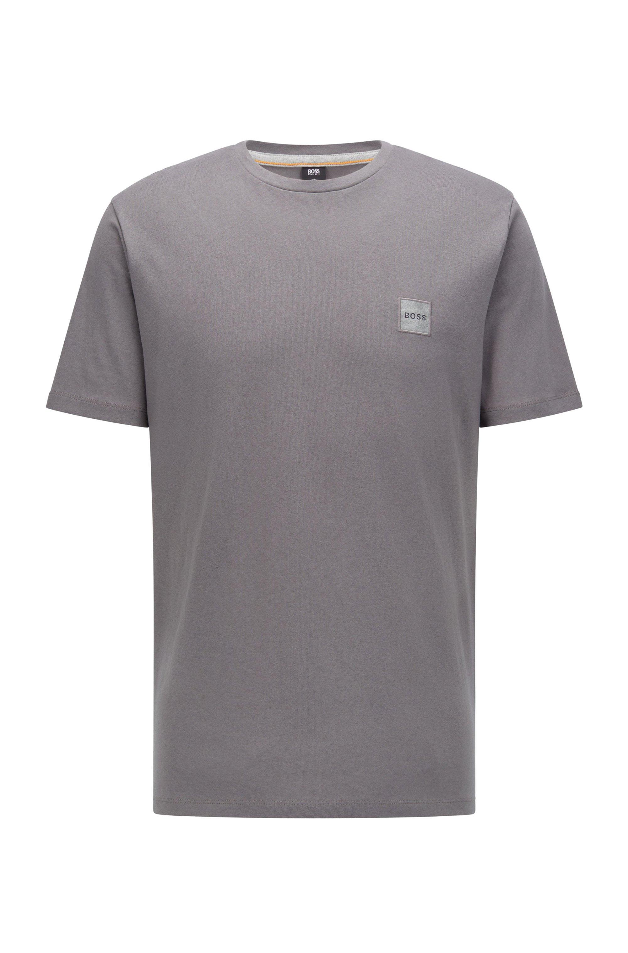 T-shirt met ronde hals van biologische katoen met logopatch, Donkergrijs