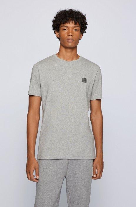 クルーネックTシャツ オーガニックコットン ロゴパッチ, ライトグレー