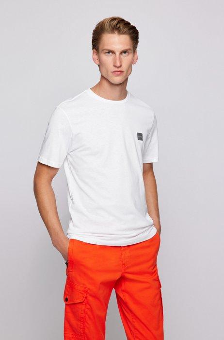 T-shirt a girocollo in cotone biologico con toppa con logo, Bianco