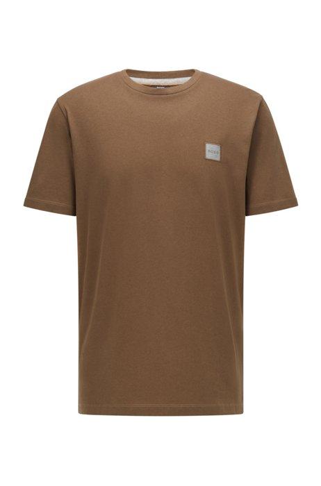 T-Shirt aus Bio-Baumwolle mit Rundhalsausschnitt und Logo-Aufnäher, Dunkelgrün