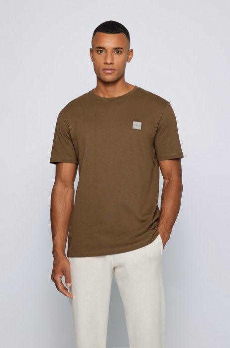 Crew-neck T-shirt in organic cotton with logo patch, Dark Green